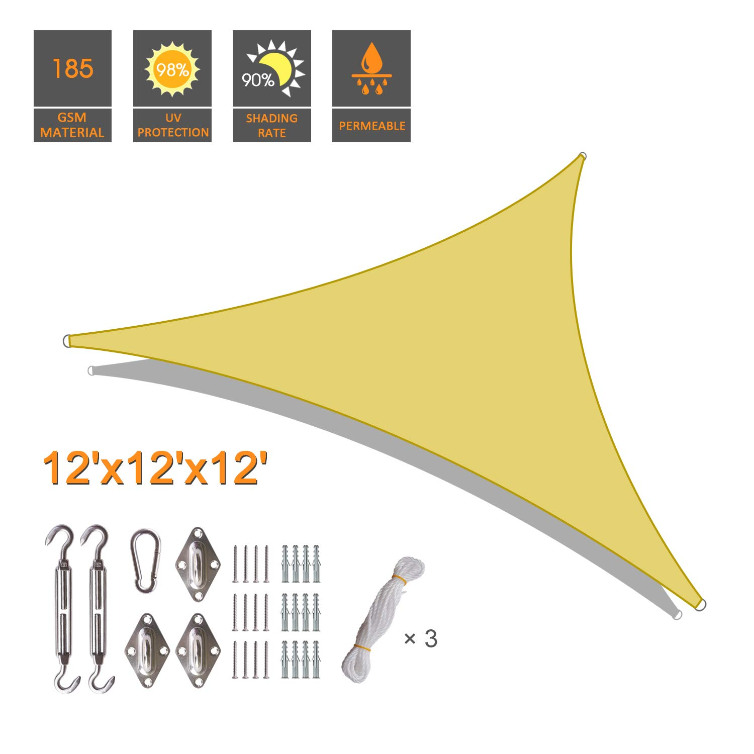 INVECH 12' x 12' x 12' Sand Triangle UV Block Sun Shade Sail with Hardware Kits, Perfect for Outdoor Patio Garden