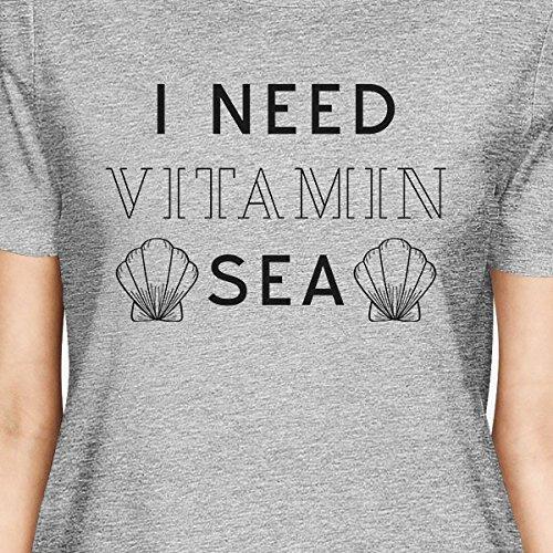 Need Femme Courtes T Vitamin Manches Shirt shirt Grey I Printing Sea 365 w0XqOO