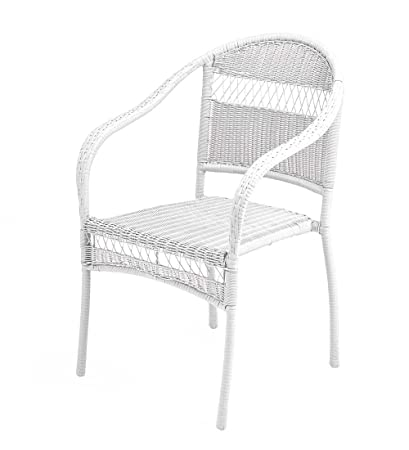 amazon com tangier wicker stacking chair white garden outdoor