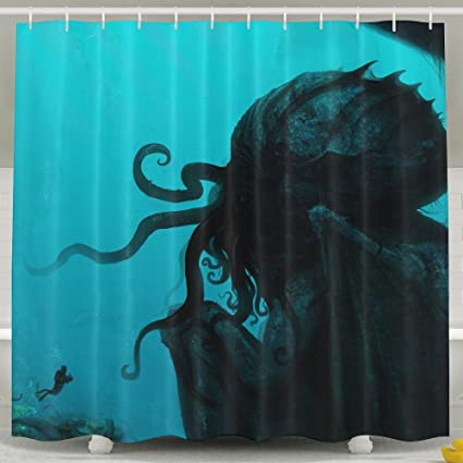 Cthulhu Fantasy Art Underwater Bathroom Decor Collection Fabric Shower Curtain Mildew Resistant Waterproof Standard