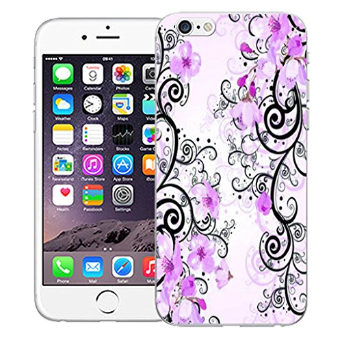 """Mobile Case Mate iPhone 6S 4.7"""" Silicone Coque couverture case cover Pare-chocs + STYLET - Purple Cluster Flowers pattern (SILICON)"""