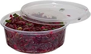 (50 Pack) 8 oz Deli Containers with Lids Combo, BPA-Free Translucent Plastic Deli Food Storage Containers with Lids, to Go/Take Out Food Containers by Tezzorio