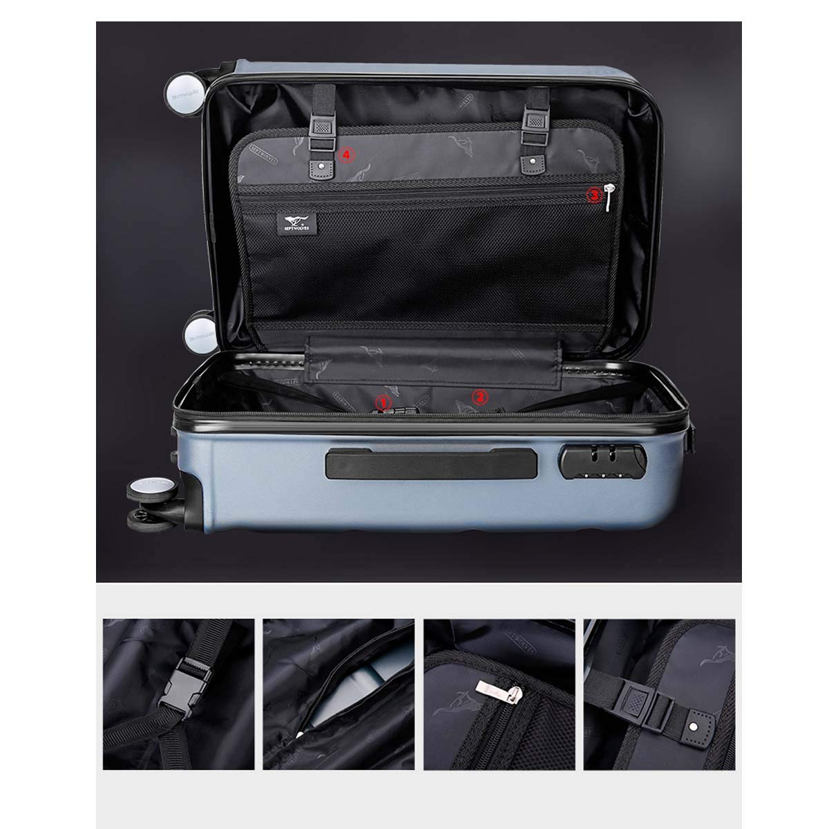 Best Gift Bahaowenjuguan Carrying Suitcase Hard case Black 20//24 inches Color : Brown, Size : 24 Rotating Suitcase Travel Organizer