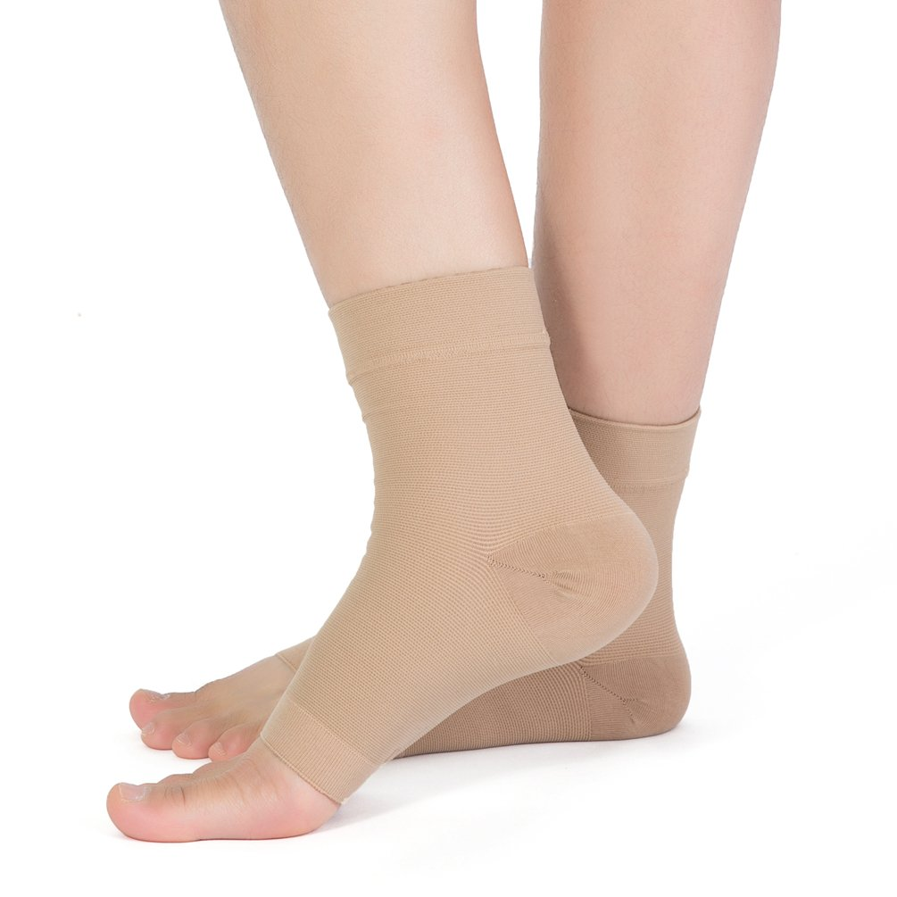 Plantar Fasciitis Socks, (1 pair) Foot Care Compression Sock for Arch Support Women Men, TOFLY Foot Compression Sleeve for Ankle Brace Support, Injury Recovery, Eases Swelling, Relieves Pain Beige L by TOFLY (Image #3)