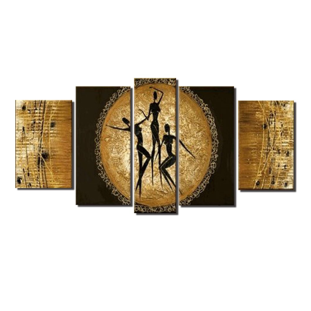 5 Piece Set African People Dance Yellow Moon Wall Art Oil Painting Living Room Bedroom Modern Abstract Homemade New Design Canvas Artwork Stretched Wood Framed Home Decoration Decor by uLinked Art