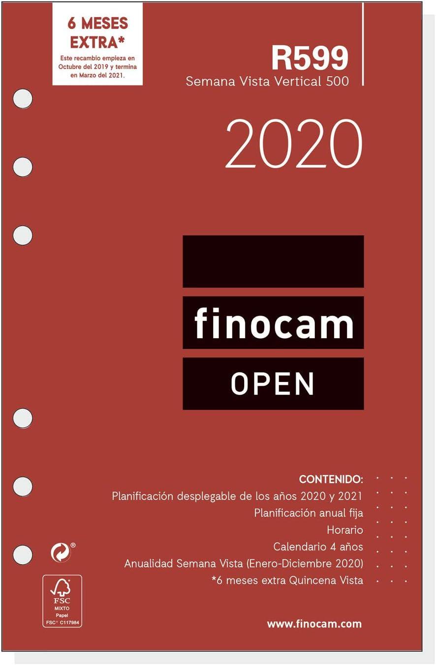 Finocam - Recambio Anual 2020 semana vista vertical Open R599 español, 500-117x181 mm