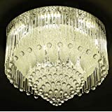 Galaxy Glass Ceiling LED Chandelier with 2 Remote Control, Inbuilt Speakers, Pen Drive and Bluetooth Connectivity, 600mm/24-inch (Multicolour, 4137)