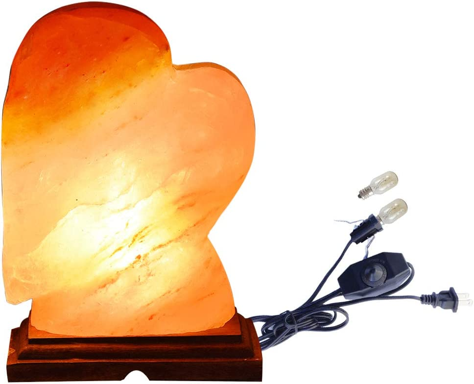 AMOYSTONE Heart Shape Himalayan Salt Lamp Hand Carved Rock Night Light with UL Switch Dimmer Cord