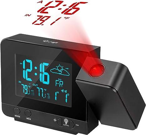 Proyector de reloj digital con higrómetro de termómetro interior ...