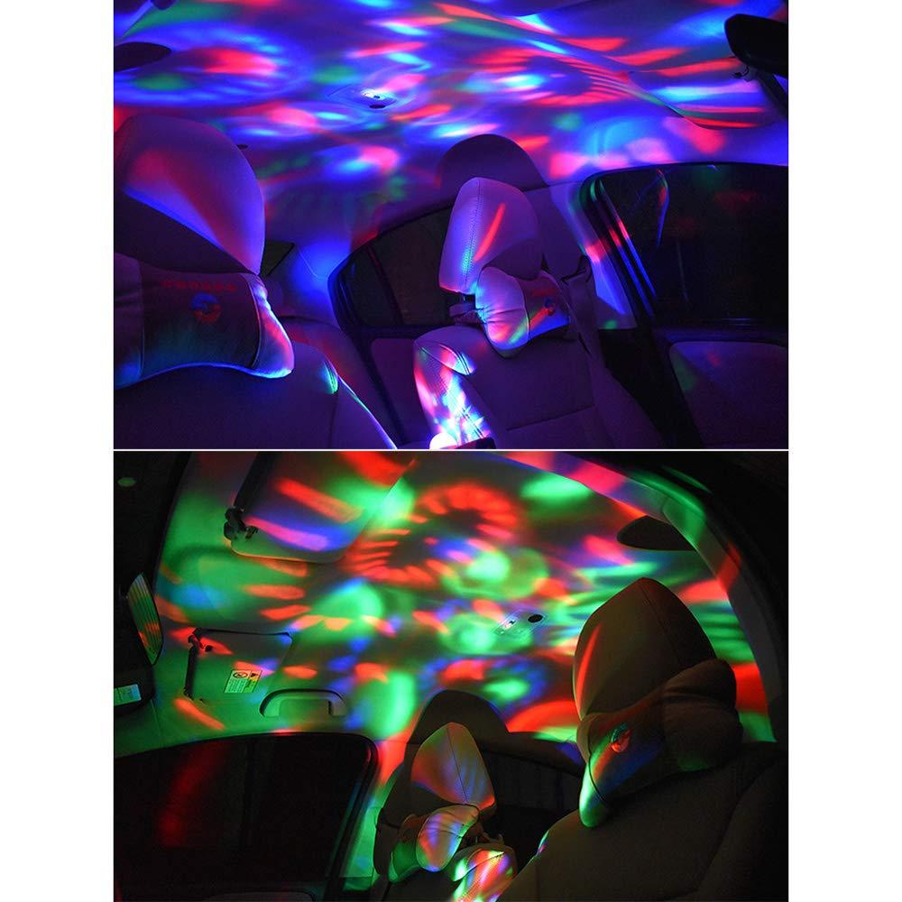 Festnight Luz interior de coche de ne/ón de la atm/ósfera Luz LED autom/ática L/ámpara de coche de m/úsica multicolor decoraci/ón impermeable resplandor l/ámpara de ne/ón LED USB RGB