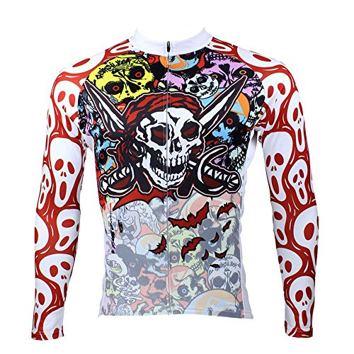 - QinYing Men's Colorful Ghost Skulls Long Sleeve Cycling Jersey Padded Pants