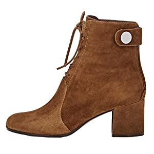 Mavirs Women's Faux Suede Lace-up Back Zip Ankle Boots Blocked Heels Casual Booties Shoes 4 M US