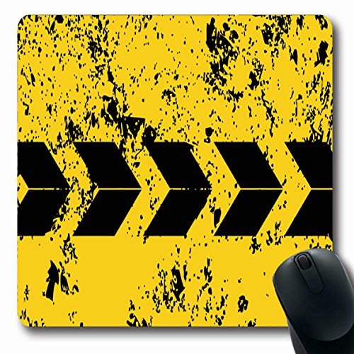 Ahawoso Mousepad Oblong 7.9x9.8 Inches Abstract Yellow Pattern Road Car Place Text Repair Traffic Stripe Automotive Black Stripes Design Office Computer Laptop Notebook Mouse Pad,Non-Slip Rubber