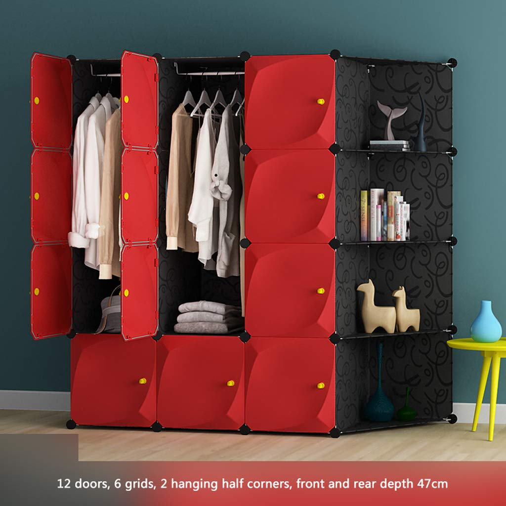 D Clothes Closet Wardrobe Portable Wardrobe Closet Modular Storage Organizer Space Saving Armoire Deeper Cube with Hanging Rod 12 Doors (Size   B)