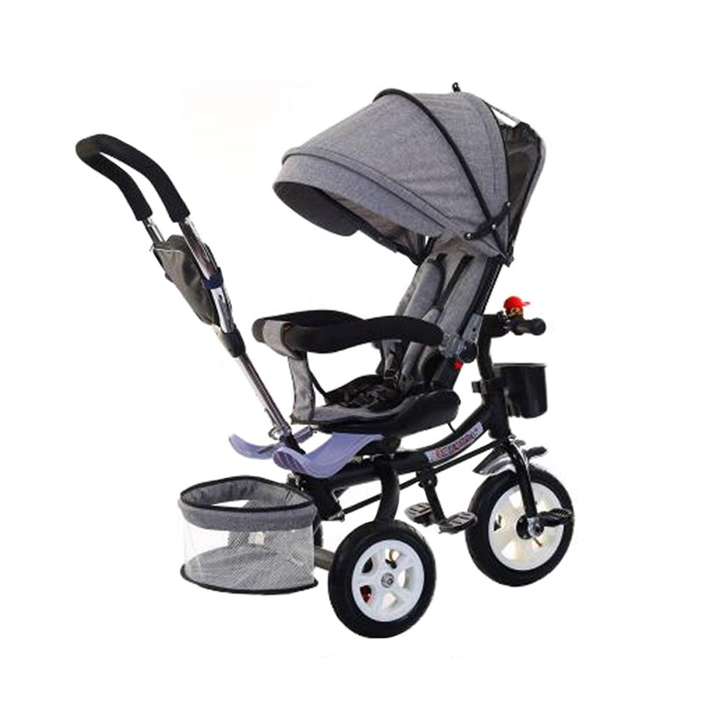 KANGR-子ども用自転車 多機能Foldable子供の三輪車キッドトロリープッシュハンドルストール自転車アンチUV天井3ホイールBike | 1-3-6歳の少年と少女のために|ロータリー席|グレー ( 色 : B型 bがた ) B07BTMJMTS B型 bがた B型 bがた
