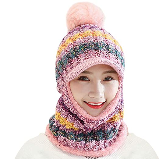 e646ca67f6d44 Outsta Hat Cap Women Winter Hat with Scarf Mask Warm Large Pompom Ball  Decor Beanie Hat at Amazon Women s Clothing store