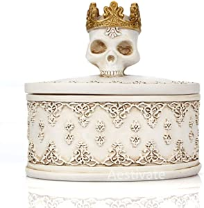 Aestivate Skeleton Head White Skull Jewelry Box Holder Organizer with Crown Halloween Skeleton Decorations Home Skull Decor