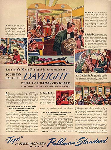 (Pullman-Standard passenger cars for Southern Pacific Railroad Daylight ad 1940 L)