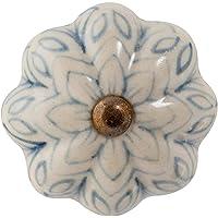 Nicola Spring Ceramic kasttreklade Knop - Vintage Design Flower - grijs/blauw