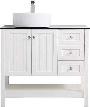 Amazon Com Elegant Decor 36 Inch Vessel Sink Bathroom Vanity In White Furniture Decor