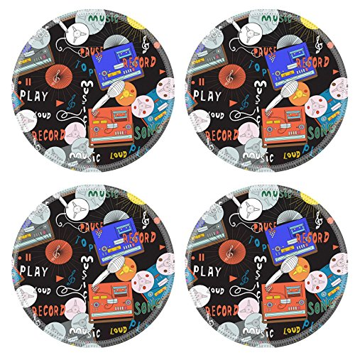 [Luxlady Natural Rubber Round Coasters IMAGE ID: 29874938 Seamless music pattern with old tape recorders microphones and cassette players in spirit of 70s and] (70s Jewellery Disco)