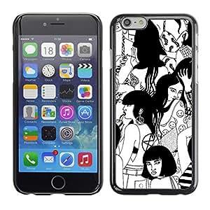 Cubierta de la caja de protección la piel dura para el Apple iPhone 6PLUS (5.5) - witch black white deep Woodstock