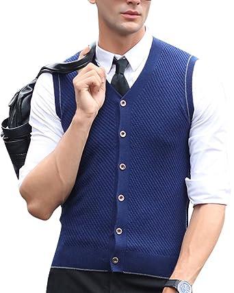 432389c786dac Homme Pull sans Manches Boutons Cardigan Veste Gilet en Col V Bleu S