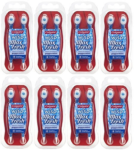 (Colgate Wisp Max Fresh Portable Mini-Brush Peppermint, 4 Count, Pack of 8)