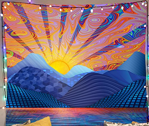 Lucid Eye Studios Psychedelic Sunrise Tapestry- Blue Tapestry- Wall Art For Guys- Sun Wall Hanging- Trippy Wall Art- 51 x 58 Inches- Premium Home Decor