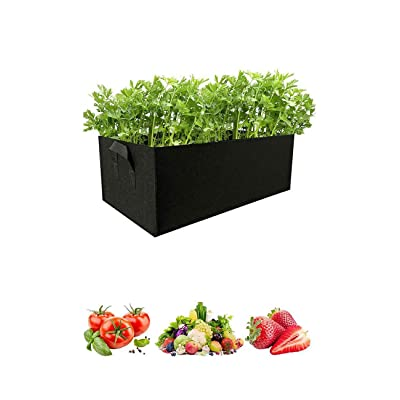 KERMAT Garden Growing Bags, Vegetables Tomato Plant Bags with Handles, Large Fabric Pots, Square Planting Container for Indoor Garden Planter Pot for Plants, Fruits (Black, 1pc) : Garden & Outdoor