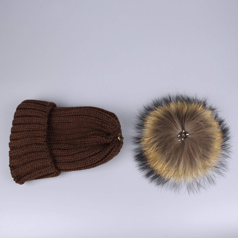 Girl Pom Pom Warm Knitted Fur Pompom Hat and Scarf Set Children Pompon Winter Hat Skullies