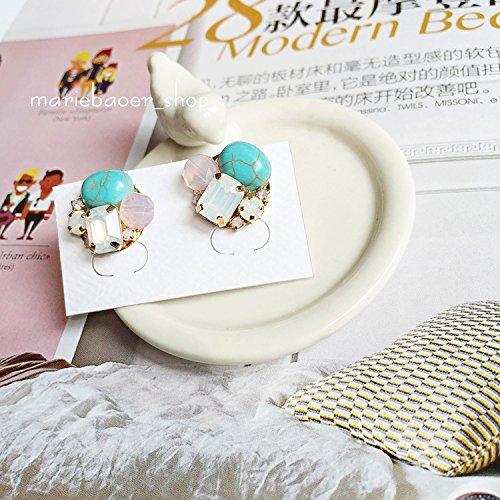 usongs imports sweet and fresh taste summer retro turquoise pink diamond earrings opal -