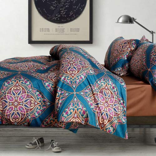 Eikei Home Damask Medallion Luxury Duvet Quilt Cover Boho Paisley Print Bedding Set 400 Thread Count Egyptian Cotton Sateen Vibrant Bohemian Pattern (Queen, Teal) ()