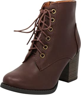 63142df1411 Cambridge Select Women's Round Toe Lace-Up Chunky Stacked Block Heel Ankle  Bootie