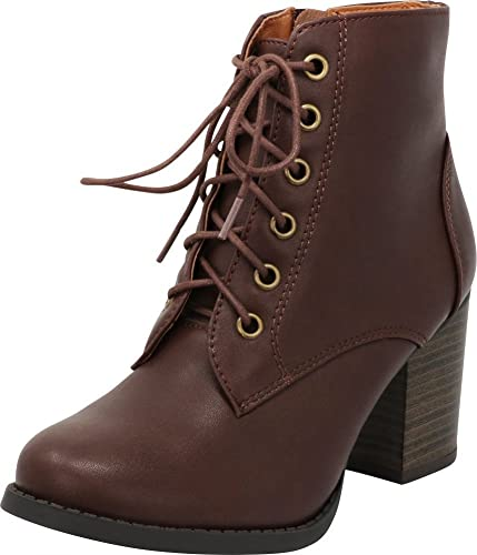 b22bfec8f1fe Cambridge Select Women s Round Toe Lace-Up Chunky Stacked Block Heel Ankle  Bootie