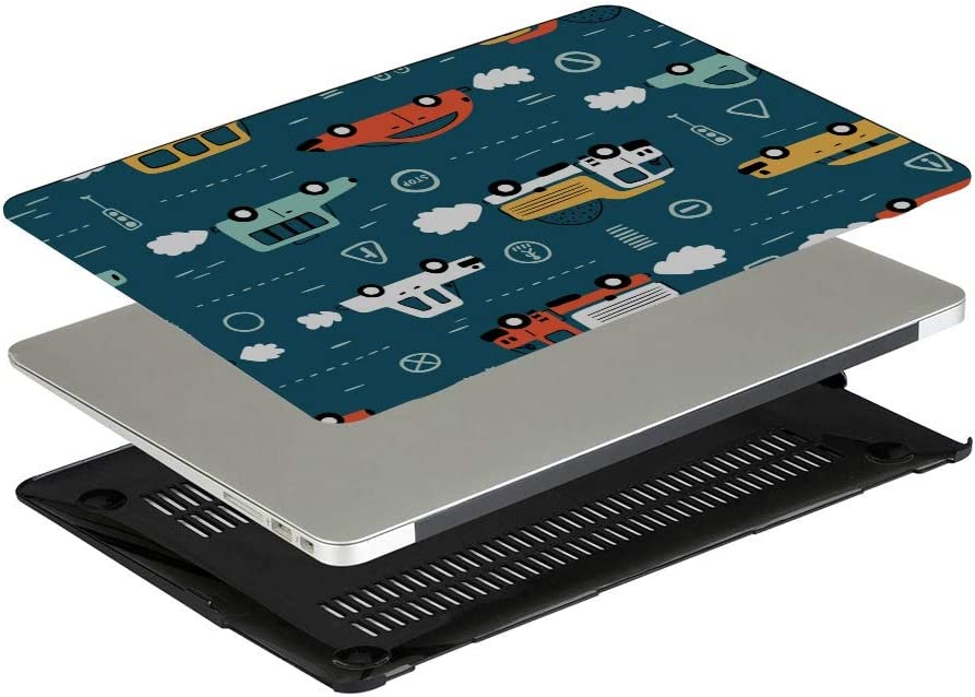 MacBook Air Shell Cartoon Transport Vehicle Plastic Hard Shell Compatible Mac Air 11 Pro 13 15 MacBook Case 12 Inch Protection for MacBook 2016-2019 Version