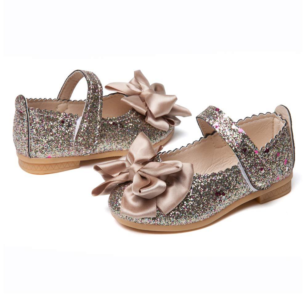 SOFMUO Toddler Girls Ballet Mary Jane Flats Bowknot Ballerina Wedding Princess Dress Shoes