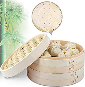 10 Inch Asian Organic Bamboo Steamer, 2-Tiers Chinese Food Steamers, Natural Handmade Steam Basket, Great for dumplings, vegetables, chicken, fish, Dim Sum