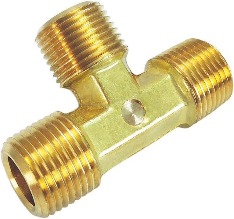 1, 1//8 x 1//8 x 1//8 Forged Brass Tee 3-Way NPT Male X NPT Male X NPT Male NIGO Brass Pipe Fitting