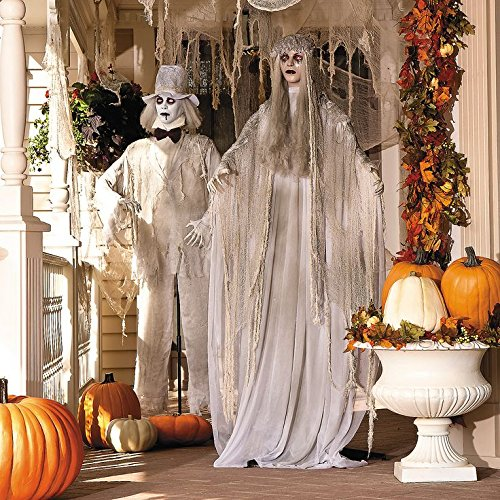 Haunting Ghost Bride and Groom Spooky Scary Halloween Haunted House Prop Decor]()