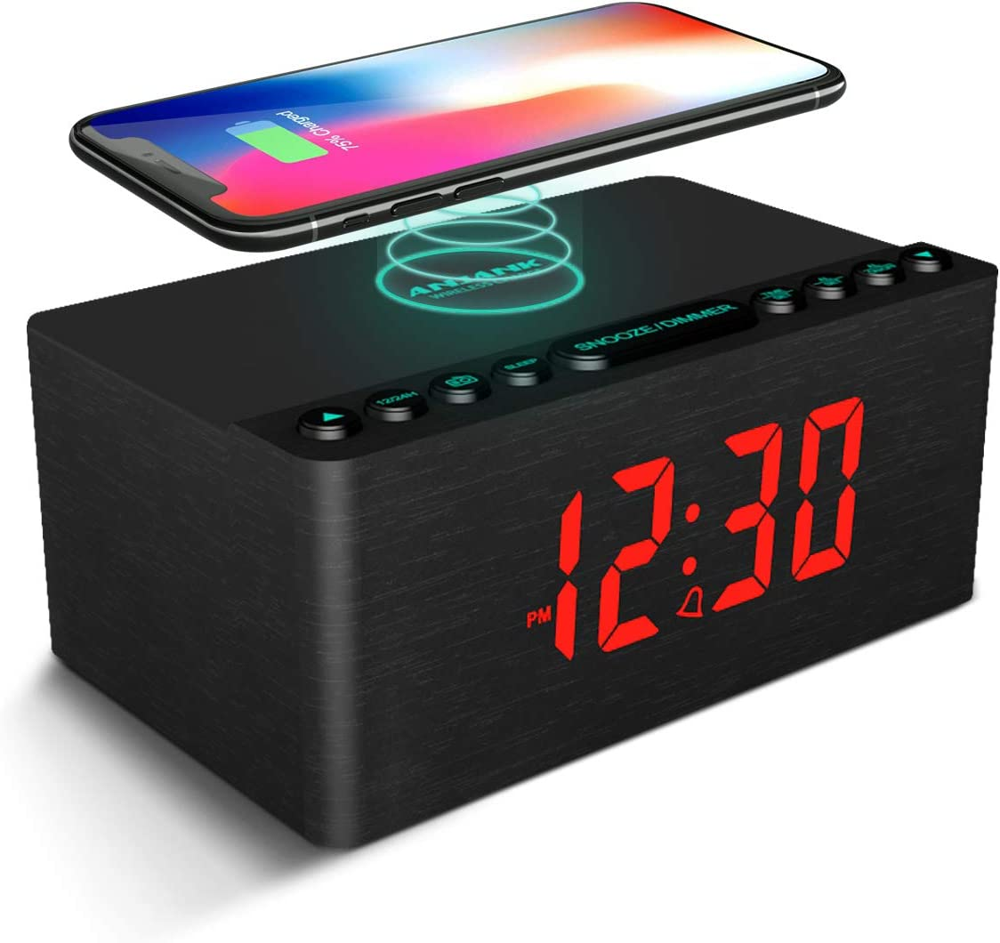 ANJANK Wooden Alarm Clock with FM Radio, 10W Super Fast Wireless Charger Station for iPhone Samsung, 5 Level Dimmer, USB Charging Port, Sleep Timer, Digital LED Clock for Bedroom