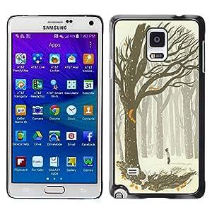 FECELL CITY // Duro Aluminio Pegatina PC Caso decorativo Funda Carcasa de Protección para Samsung Galaxy Note 4 SM-N910 // Drawing Boy Art Forest Tree