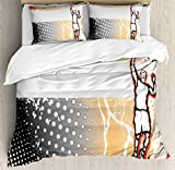 Sports Decor Duvet Cover Set by Ambesonne, Basketball Player in the Middle of Game Illustration Dotted Background Doodle Style Art, 3 Piece Bedding Set with Pillow Shams, Queen / Full, Orange Black