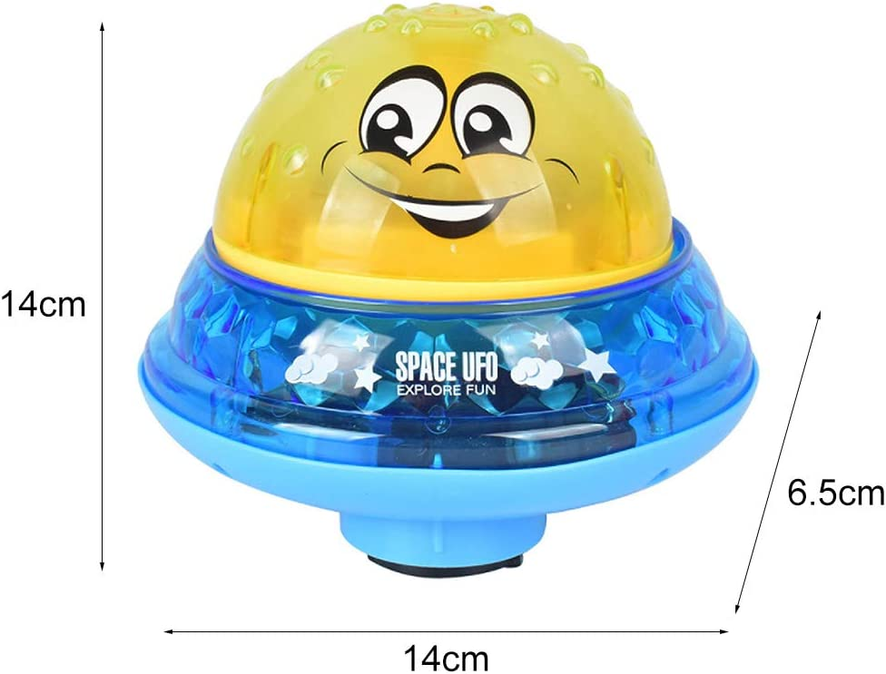 GREENWISH Spray Water Baby Bath Toy LED Light Up with Music Sprinkler Ball Toy Electric Automatic Induction Sprinkler Toy 2 in 1 Floating Baby Bathtub Shower Toy Space UFO Car Toys for Toddler Infant Kids