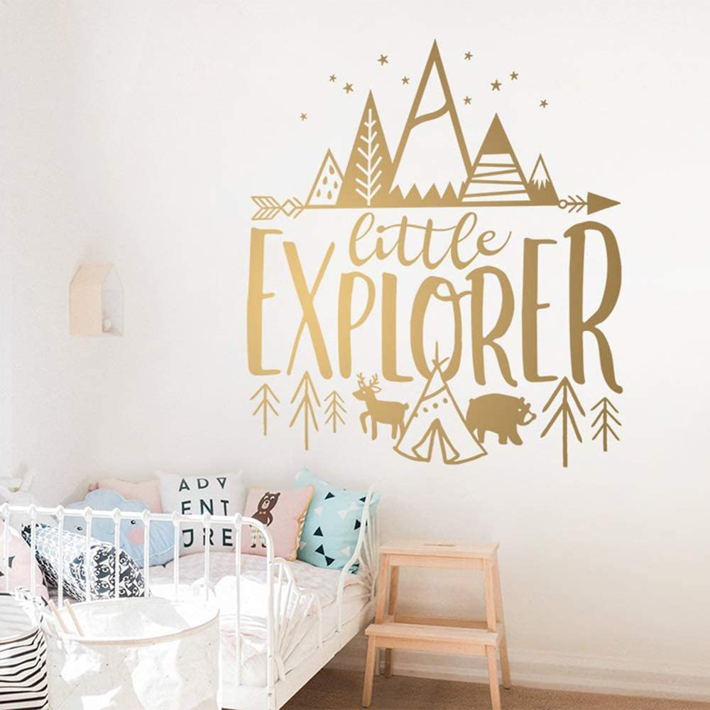 Little Explorer Adventure Etiqueta de la Pared Citas Inspiradoras Mountain Deer Bear Tree Nursery Vinilos Decorativos Bebé Niños Dormitorio Vinilo 82cmx73cm: Amazon.es: Hogar