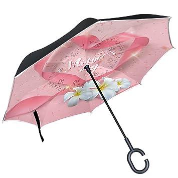 ALAZA Happy MotherS Day - Paraguas reversible de doble capa con purpurina con diseño de corazón