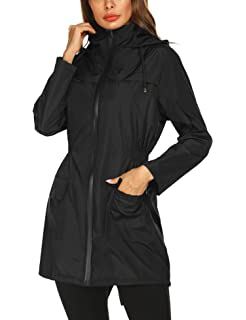 775d17fe7 Doreyi Lightweight Raincoat for Women Waterproof Packable Hooded Outdoor  Hiking Long Rain Jacket Active Rainwear