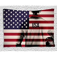 Ambesonne Sports Decor Tapestry, Composite Double Exposure Image of A Soccer Player and American Flag National USA Run, Wall Hanging for Bedroom Living Room Dorm, 60 W X 40 L, Beige Blue and Red