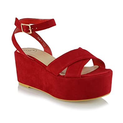 ESSEX GLAM Mujer Correa de Tobillo Tacón de Cuña Rojo Gamuza Sintética Plataforma  Sandalia EU 40  Amazon.es  Zapatos y complementos 1c6a8382a425