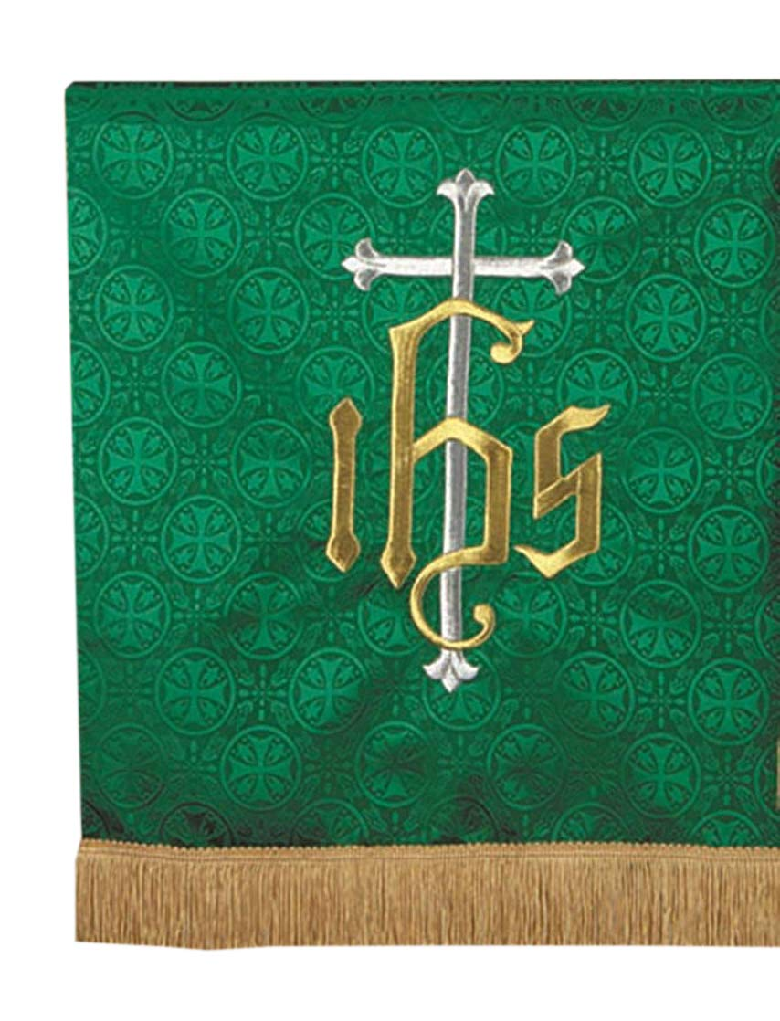 R.J. Toomey Green Polyester IHS Embroidered Pulpit Scarf, 38 Inch